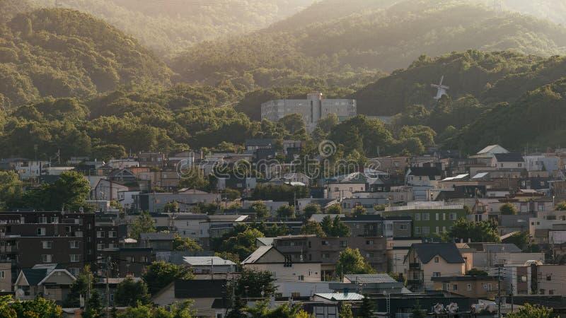 Landschaft der Stadt mit Berg in Hokkaido, Japan lizenzfreie stockbilder