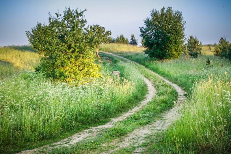 Landschaft der Wiese und der Straße stockbild