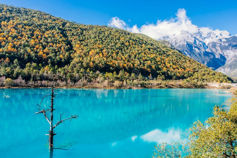 Landschaft des blauer Mond-Tales in Jade Dragon Snow Mountain, Lijiang, Yunnan, China stockbilder