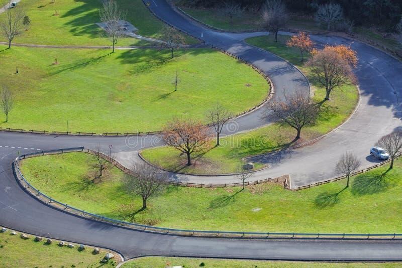 Landschaft des grünen Grases und der bloßen Bäume am Herbst lizenzfreies stockfoto