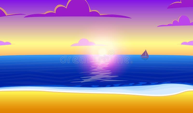 Landschaft des Paradieses auf dem Ozeanstrand mit Sonnenuntergang Tropische Insel Meer und Sonnenaufgang Auch im corel abgehobene vektor abbildung