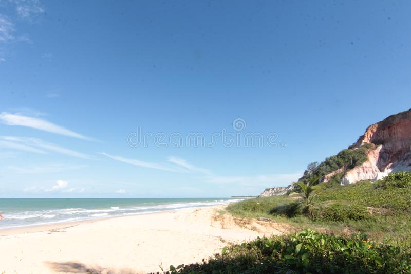 Landschaft des Paradiestropeninselstrandes, Sonnenaufgangschu? lizenzfreie stockbilder