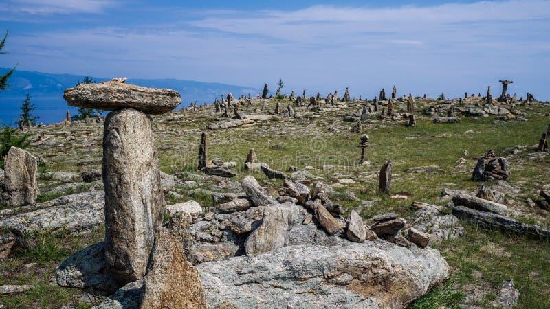 Landschaft des Sees Baikal, Olchon Island, Irkutsk, Sibirien, Russland Die Herausforderung stockfotografie