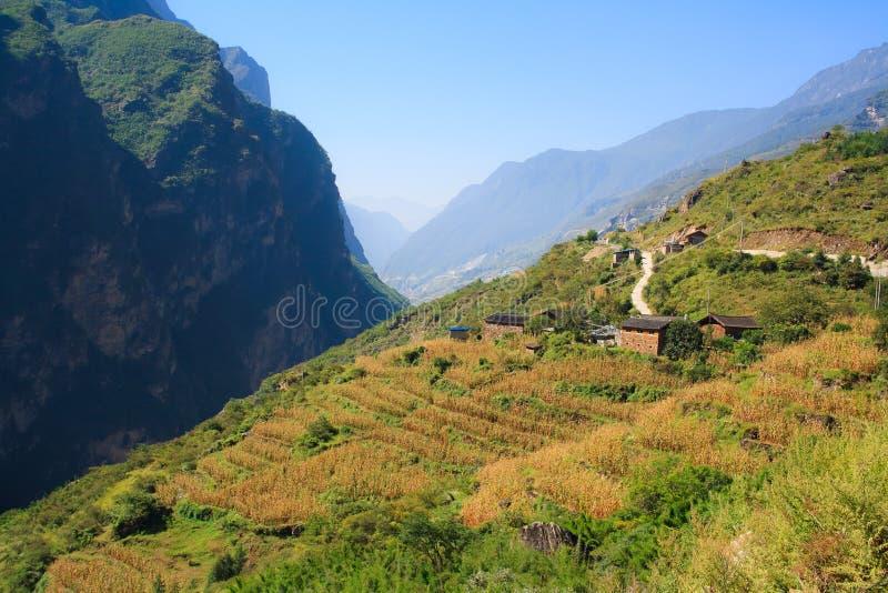 Landschaft des Tigers Schlucht springend. Tibet. China. stockbilder