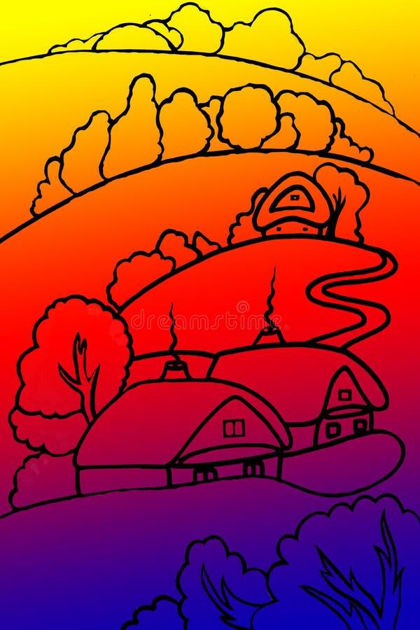 landschaft Dorf und Wald auf einem Hintergrund der mehrfarbigen Steigung Abstrakte Abbildung lizenzfreie abbildung