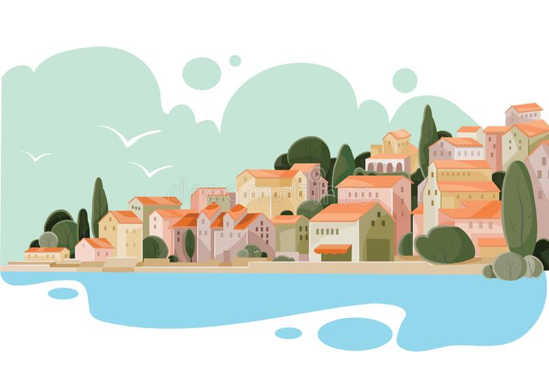 Landschaft einer Küstenstadt mit kleinen Häusern, Provinz, Ferienort, Urlaub, Entspannung lizenzfreie abbildung