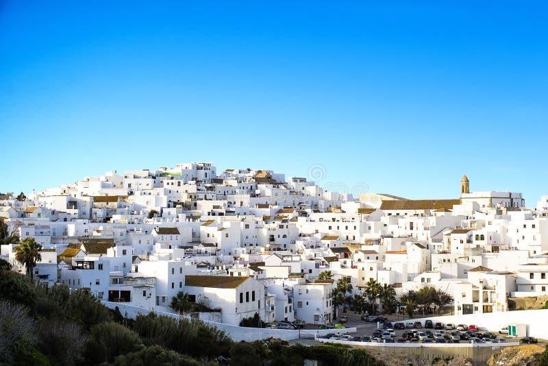 Landschaft einer weißen Stadt, Vejer De-La Frontera stockbilder