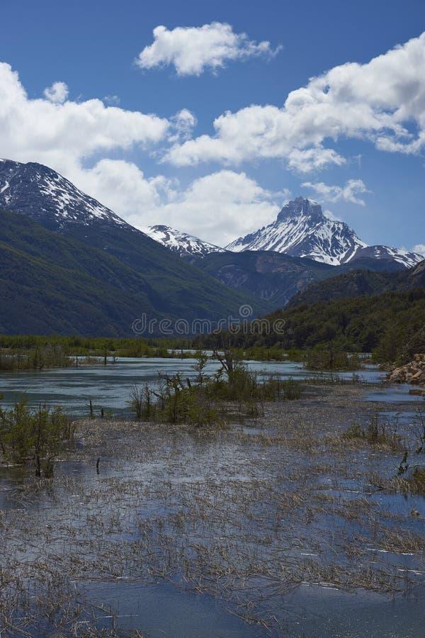 Landschaft entlang dem Carretera Austral, Chile stockbild