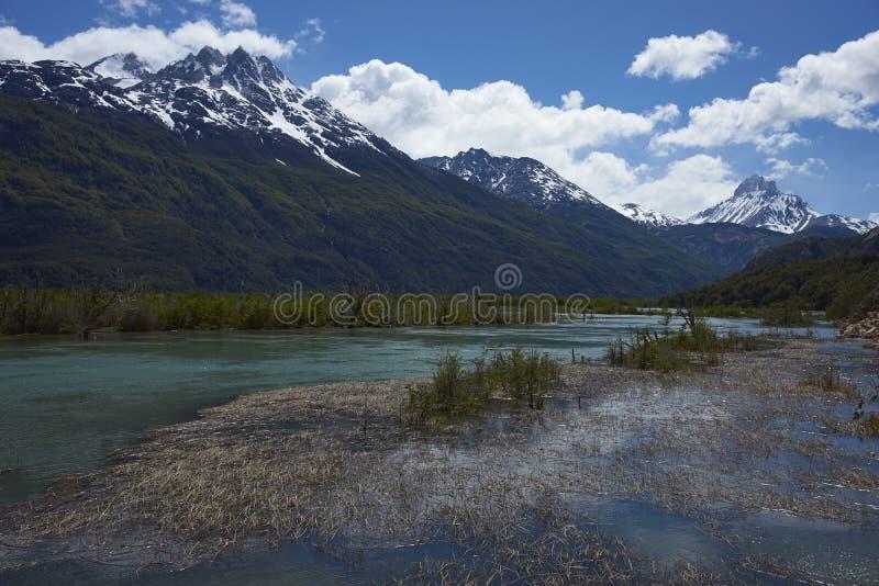 Landschaft entlang dem Carretera Austral, Chile stockfotografie