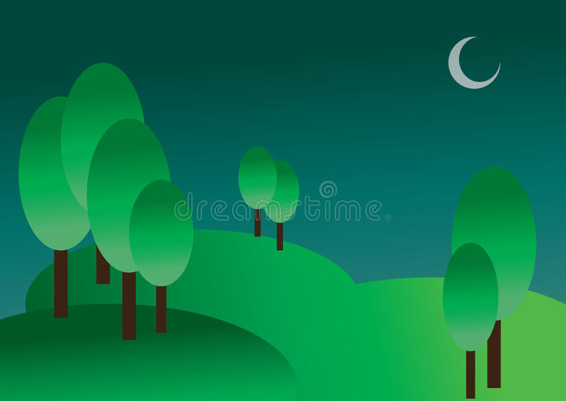 Landschaft - Hügel nachts lizenzfreie stockfotografie