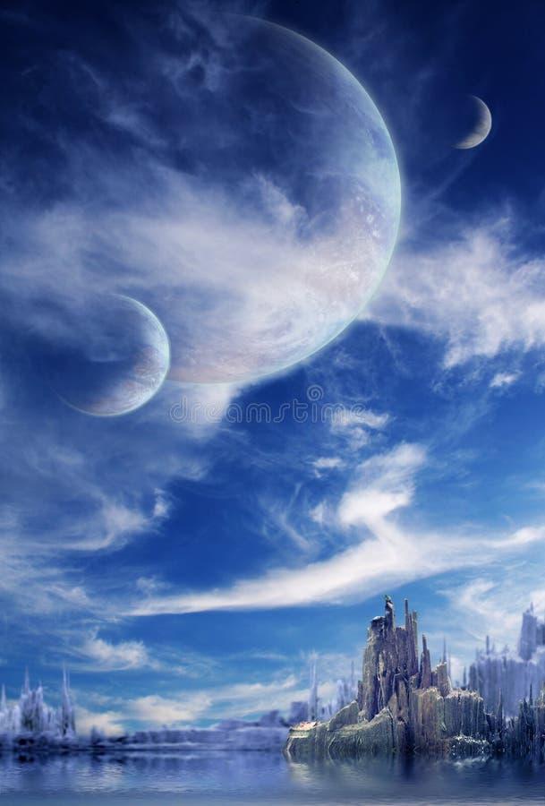 Landschaft im Fantasieplaneten lizenzfreie stockbilder