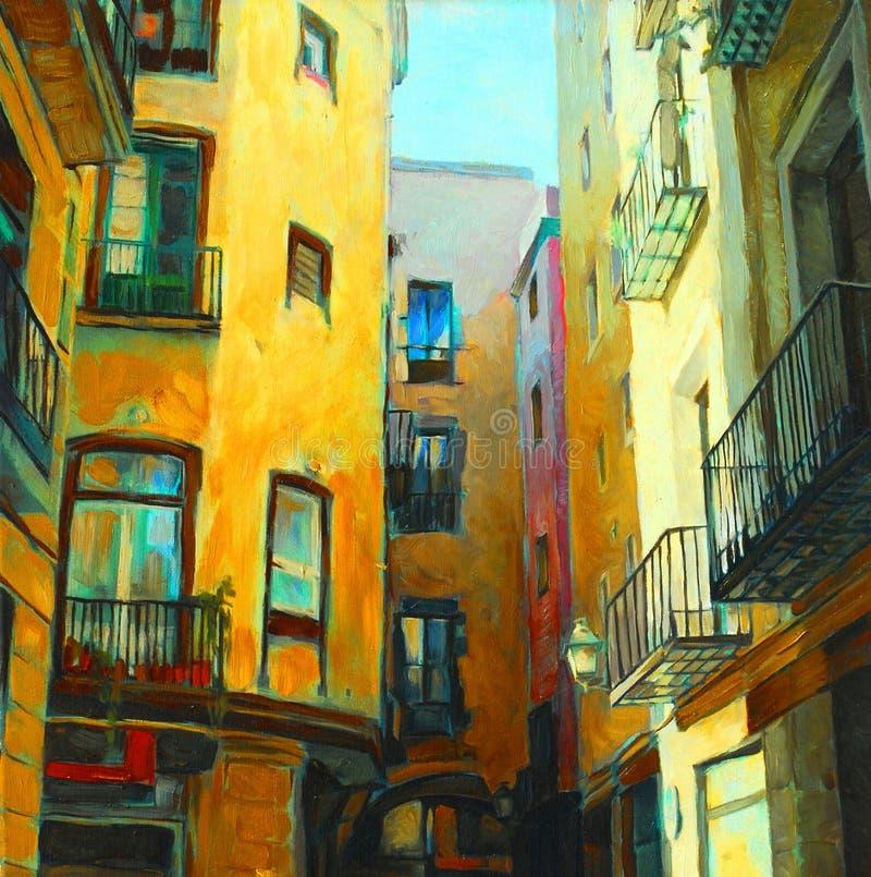 Landschaft ist im gotischen Viertel von Barcelona und malt durch Öl lizenzfreie abbildung