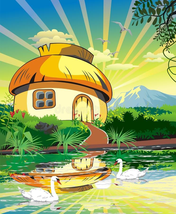 Landschaft - Kabine auf dem See mit Schwänen stock abbildung
