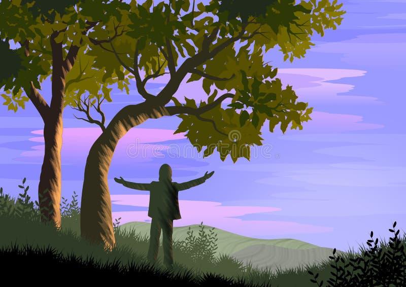 Landschaft mit Bäumen im Vordergrund und in einer Person im Schattenbild mit den offenen Armen in Übereinstimmung mit Natur Abbil stock abbildung