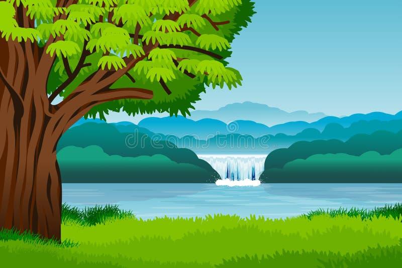 Landschaft mit Bergen, Hügeln, Wasserfall und Baum Abbildung lizenzfreie abbildung