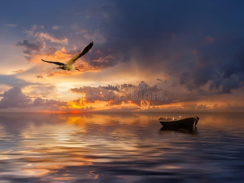 Landschaft mit Boot und Vögeln stockfotos