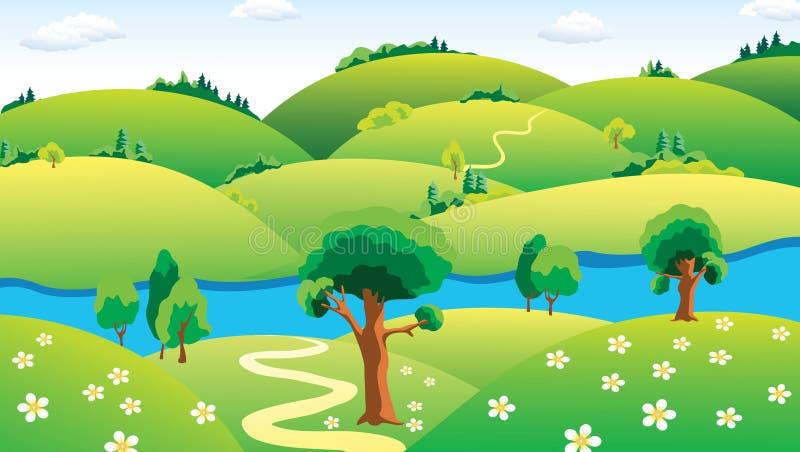 Landschaft mit dem Fluss. stock abbildung
