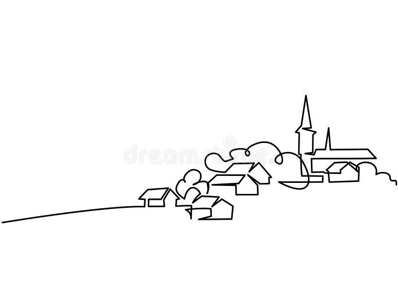 Landschaft mit Dorf auf Hügel stock abbildung