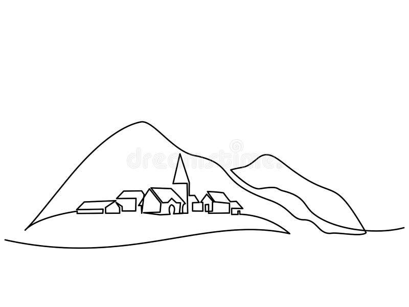 Landschaft mit Dorf auf Hügel lizenzfreie abbildung