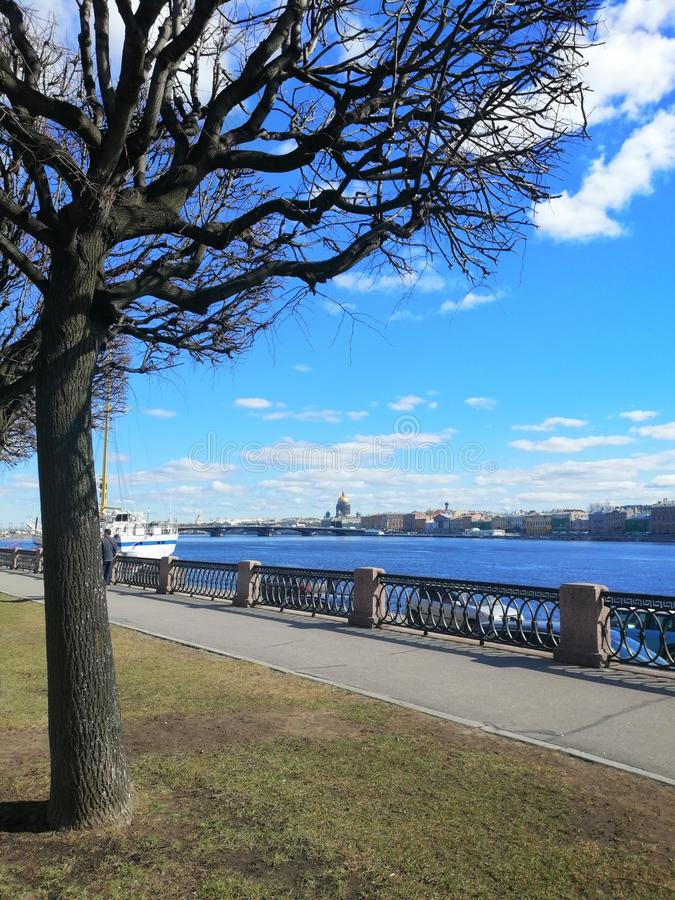 Landschaft mit einem Baum, einem Fluss und einem Segelboot lizenzfreies stockfoto