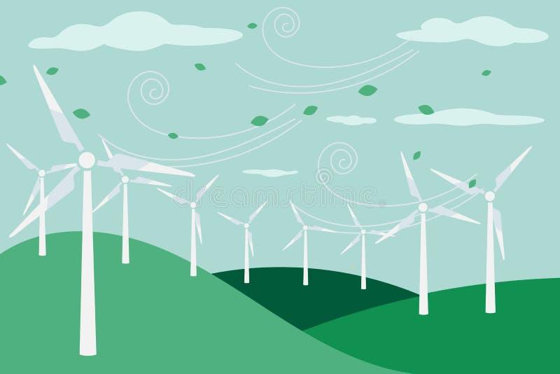 Landschaft mit elektrischer und eco Energiewindmühle vektor abbildung