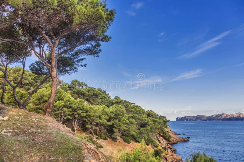 Landschaft mit Felsen über dem Meer unter dem Himmel Insel Mallorca stockfotografie