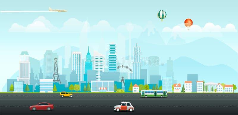 Landschaft mit Gebäuden und Fahrzeugen Bau einer Brücke über der Bucht lizenzfreie abbildung