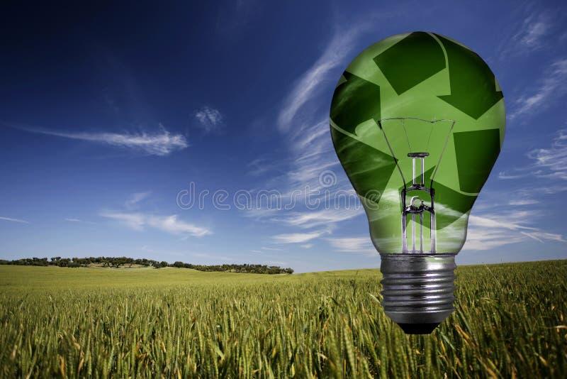 Landschaft mit grüner aufbereiteter Glühlampe stockfotografie
