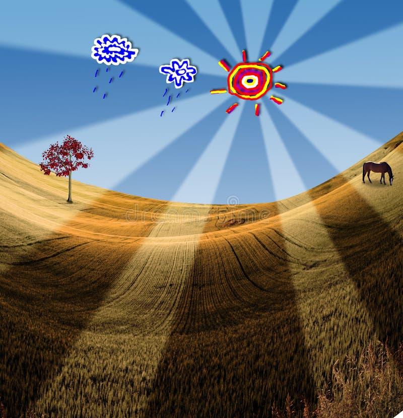 Landschaft mit Karikatur Elementen lizenzfreie abbildung