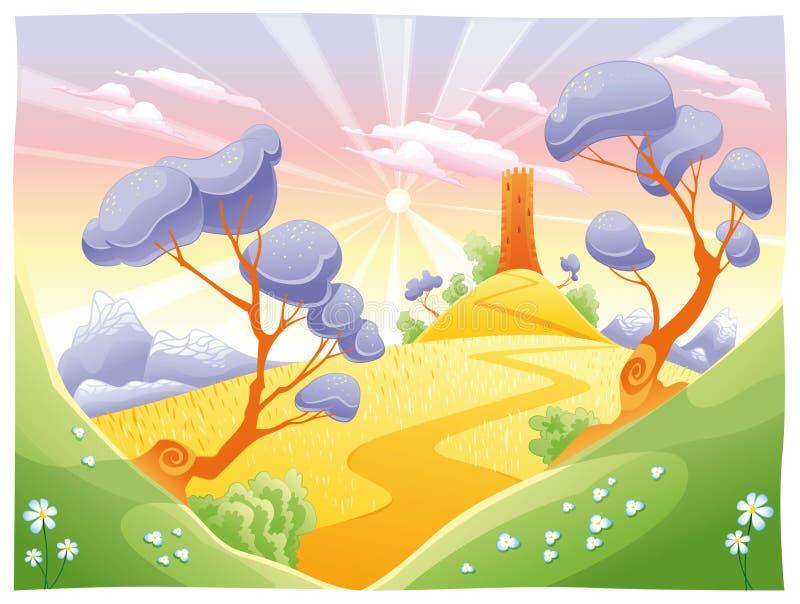 Landschaft mit Kontrollturm. lizenzfreie abbildung