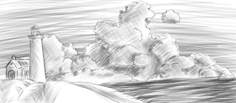 landschaft mit leuchtturm meer und wolken vektor