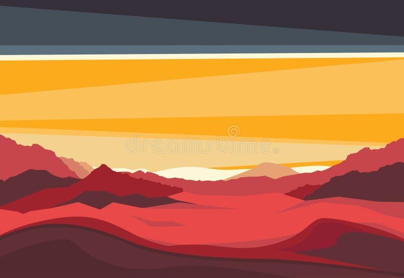 Landschaft mit Mars-Bergen im Sonnenunterganglicht Roter terrestrischer exo Planet Panoramische Abendansicht vom Tal lizenzfreie abbildung