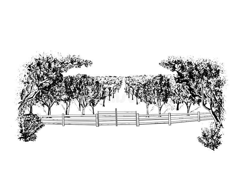 Landschaft mit Obstgarten lizenzfreie abbildung