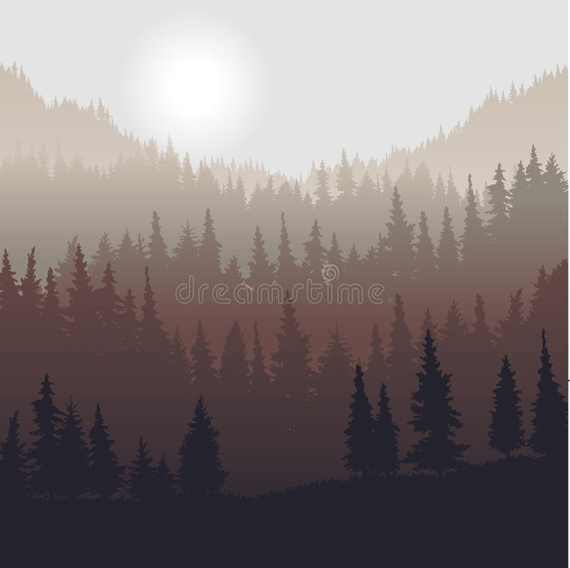 Landschaft mit Tannenbäumen vektor abbildung