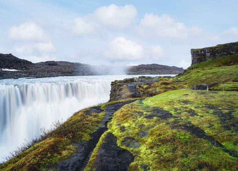 Landschaft mit Wasserfall Dettifoss, Island stockfoto
