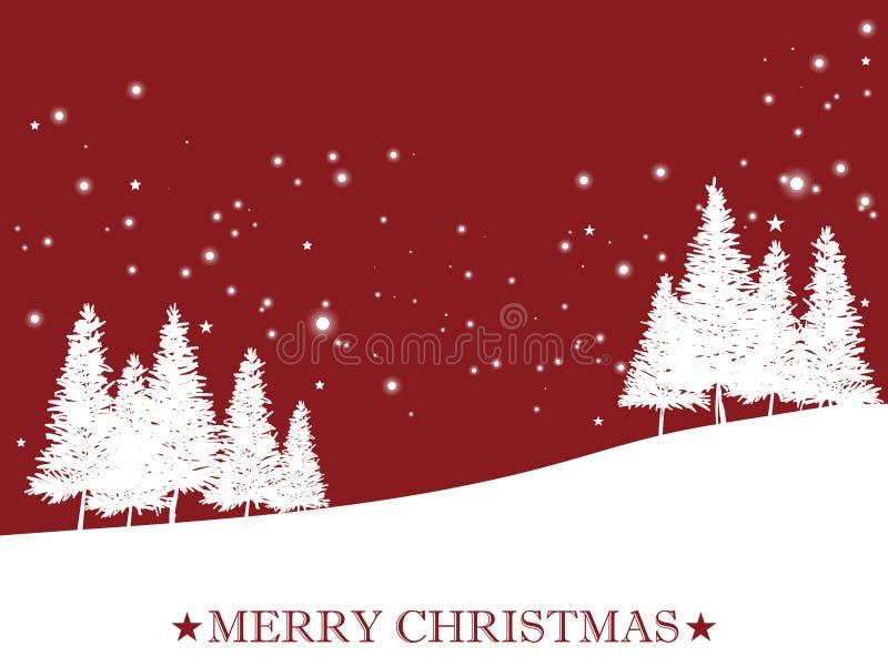 Landschaft mit Weihnachtsbaum nahe den Kiefern auf Schneehügel auf rotem Himmel mit Schneeflocke und Text der frohen Weihnachten vektor abbildung