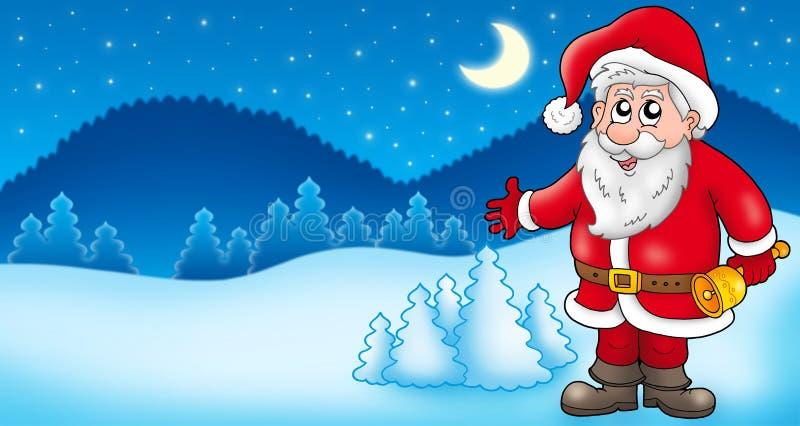 Landschaft mit Weihnachtsmann 1 lizenzfreie abbildung
