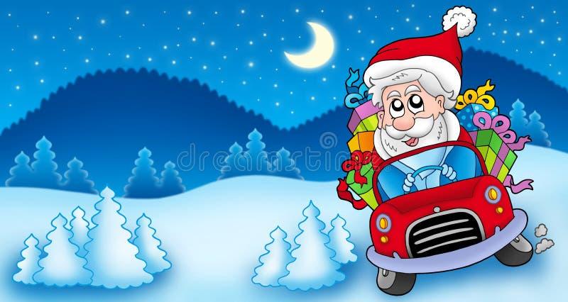 Landschaft mit Weihnachtsmann, der Auto antreibt lizenzfreie abbildung