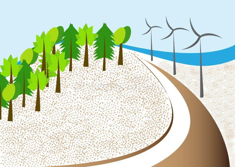 Landschaft mit Windmühlen lizenzfreie abbildung