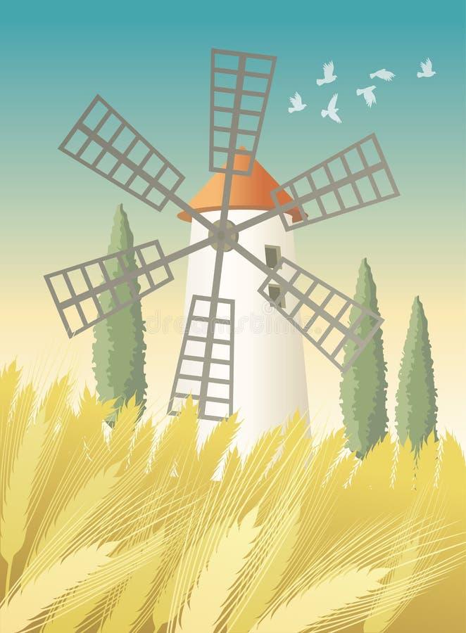 Landschaft mit Windmühlen- und Weizenfeld vektor abbildung