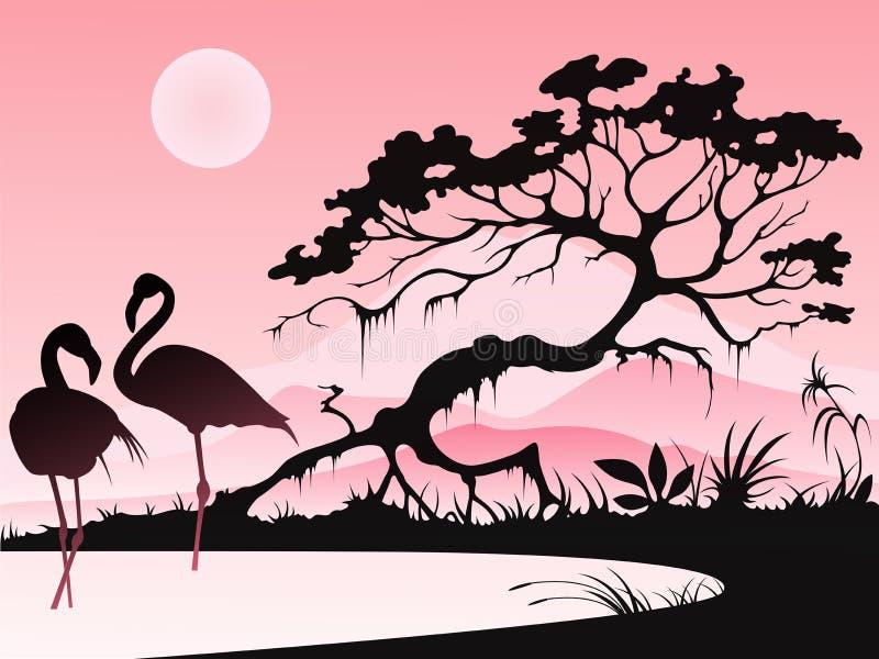 Landschaft mit zwei Flamingos lizenzfreie abbildung