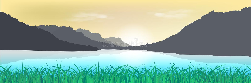 Landschaft, Naturrasenfeld und Gebirgssonnenuntergangplakat abstra lizenzfreie abbildung