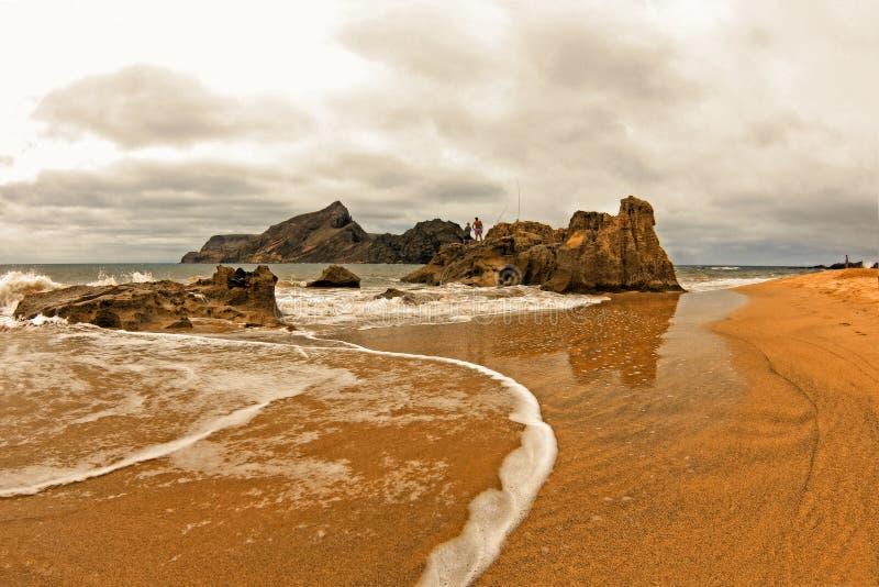 Landschaft sandigen Strandes Madeiras Portugal stockfoto