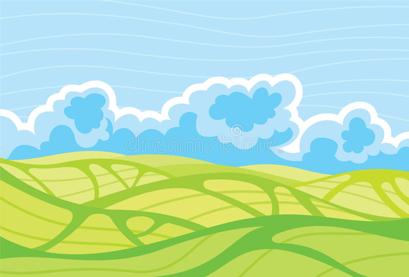 Landschaft-und-bewölkt-Himmel stock abbildung