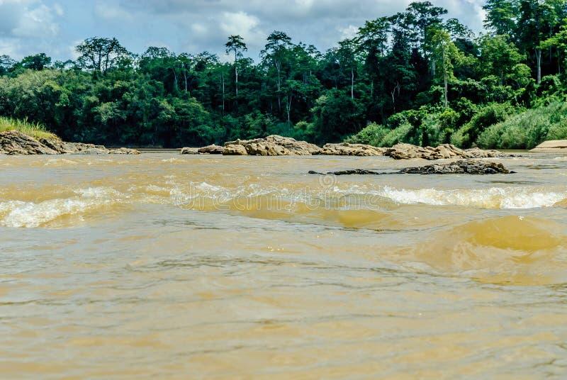 Landschaft vom Fluss tembeling Sungai stockbilder