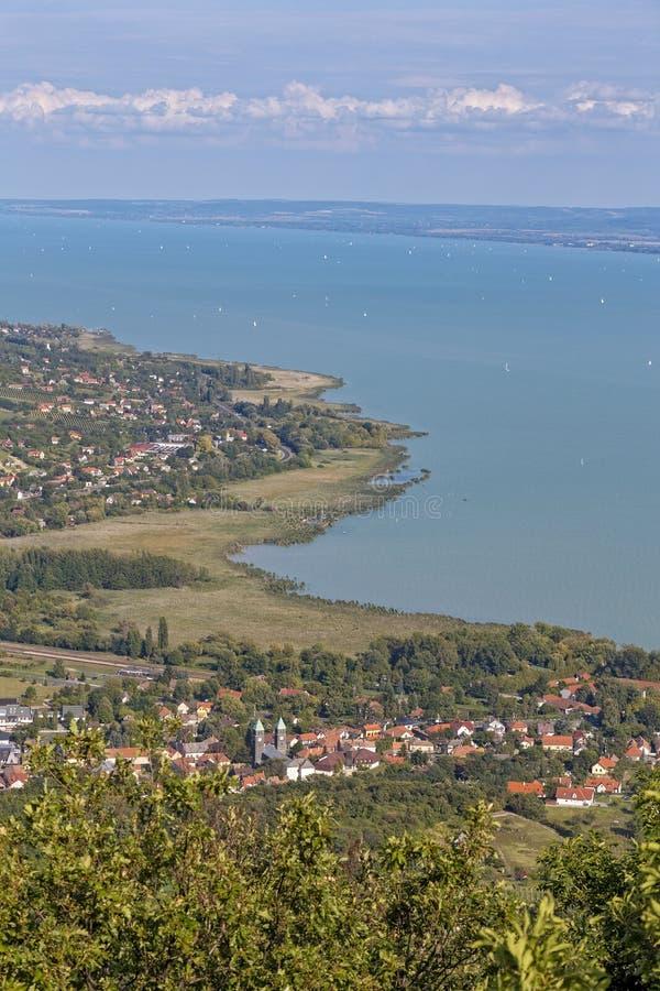 Landschaft von einem Plattensee in Ungarn lizenzfreies stockfoto