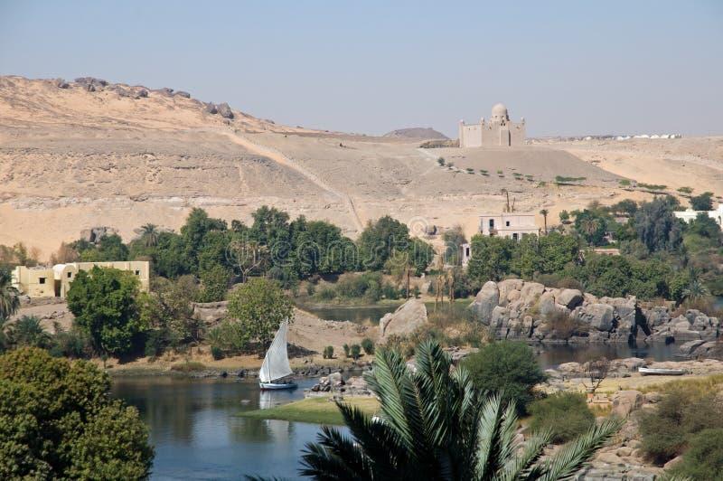 Landschaft von Fluss Nil in Assuan lizenzfreie stockbilder