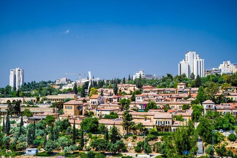 Landschaft von Mishkenot Sheananim lizenzfreie stockfotografie