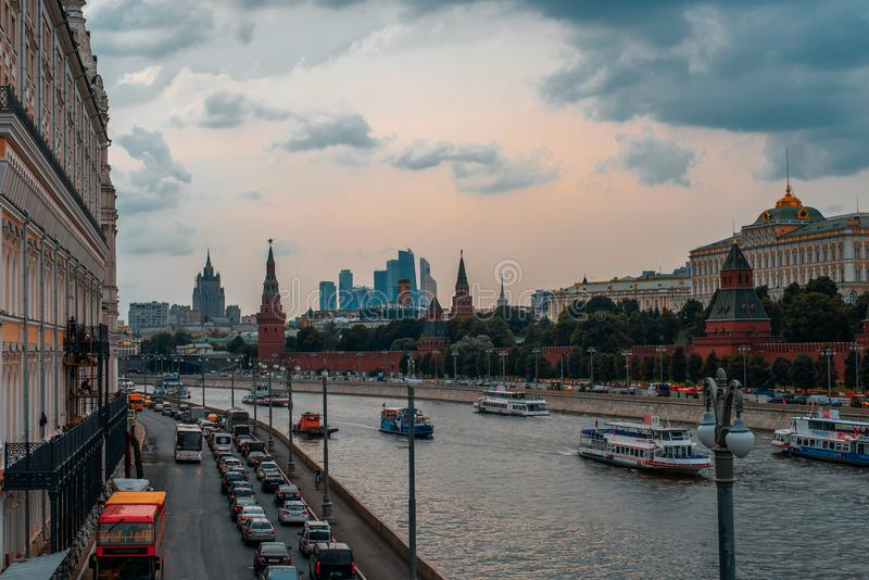 Landschaft von Moskau-Stadt auf dem Roten Platz lizenzfreie stockfotografie