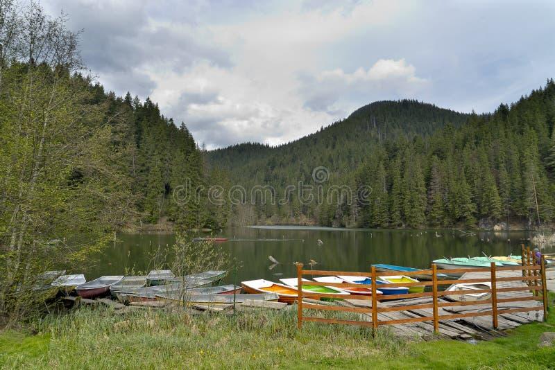 Landschaft von rotem See Rumänien lizenzfreie stockfotografie